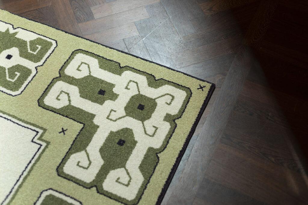 PR_detail patroon grafisch ontwerp tapijt in de inktpot