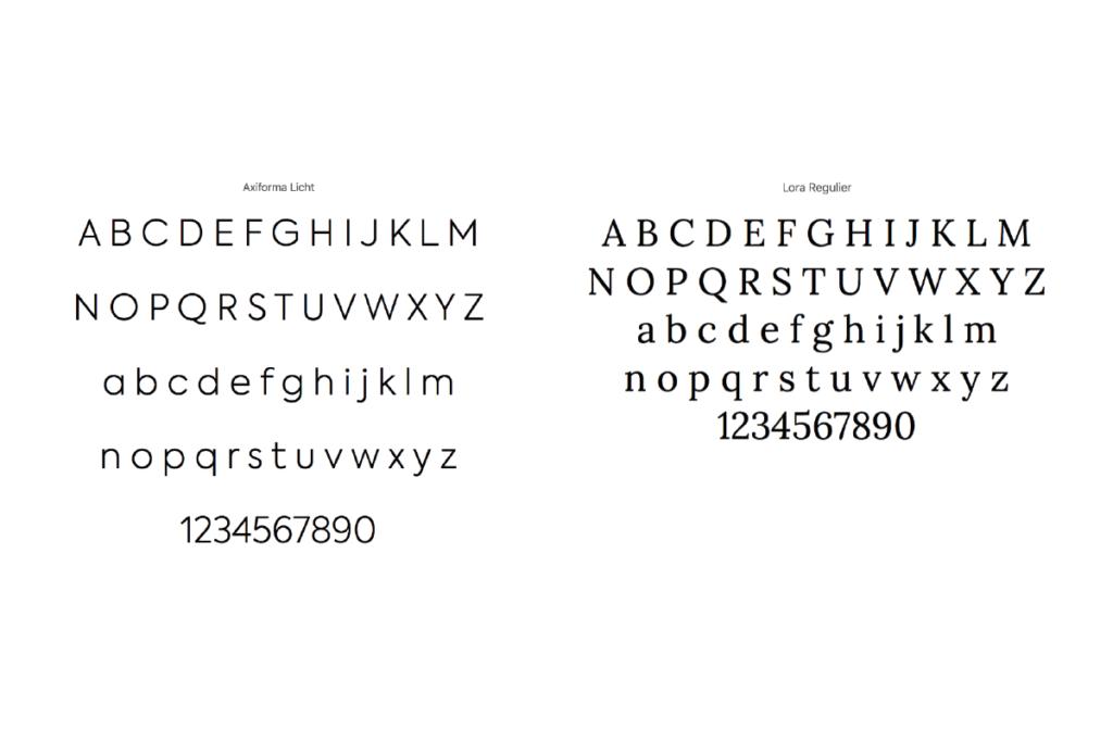 Twee lettertypes voor Atelier Zekveld. Schreef- en schreefloos